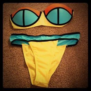 Other - Strapless Neon bikini top